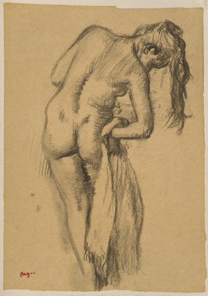 drawing of woman after the bath